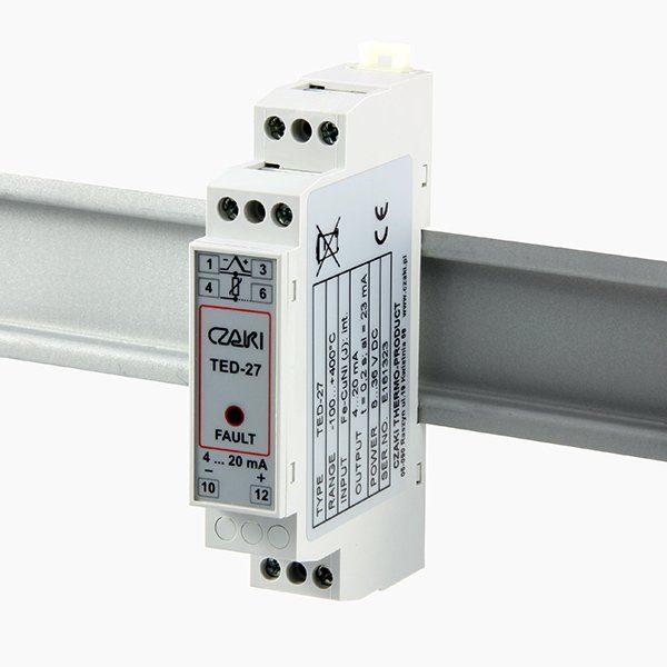 TED-27  Programowalny przetwornik temperatury na szynę DIN (wyjście 4-20mA)