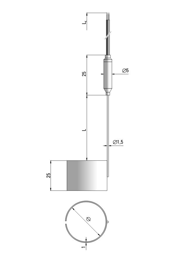 Czujnik temperatury TP-292 (termoelement płaszczowy)
