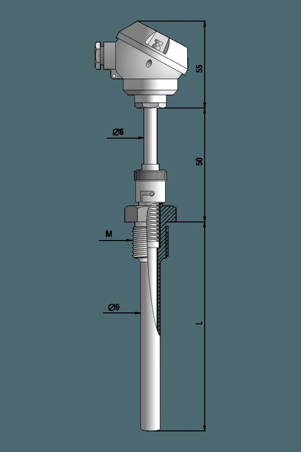 Czujnik temperatury TP-496 (z osłoną, złącze bagnetowe)